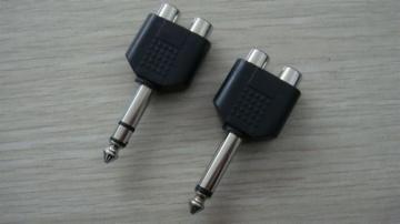 6.35MM Mono/Stereo Plug To 2 RCA Jacks AD-5015