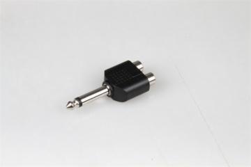 6.35MM mono plug to 2 RCA jacks adapter, used for radio